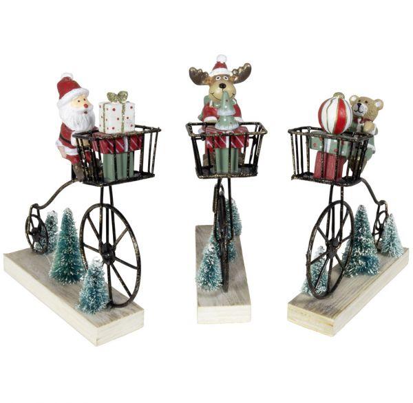 Tischdeko Figur auf Fahrrad 13cm