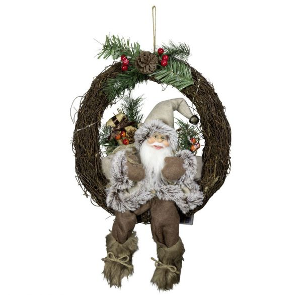Weihnachtsmann 30cm im Kranz mit LED Licht