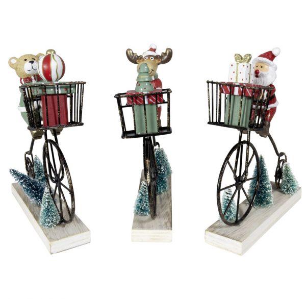 Tischdeko Figur auf Fahrrad 16cm